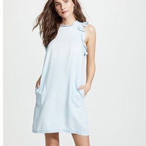 Bella Dahl Chambray Ruffled Sleeve Dress